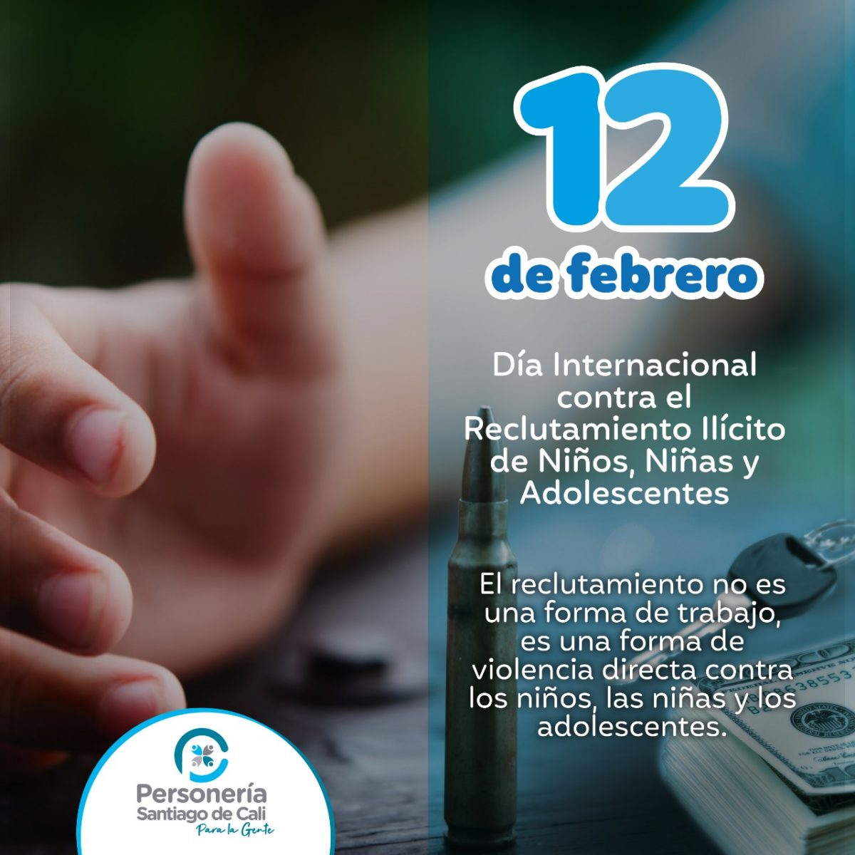 12 de Febrero Día de las Manos Rojas El Mundo Unido contra el Reclutamiento Forzado de Niños, Niñas y Adolescentes